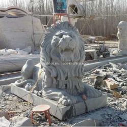 屋外の装飾的のための自然な大理石または花こう岩の石造りのライオンの彫刻動物の彫像