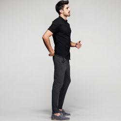 أزياء عام 2016 100% قمصان الرجال القطنية الرجال الرجال أبيض/أسود قميص