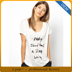 Cusotmの100%年の綿の女性は袖によって印刷される衣類をショートさせる