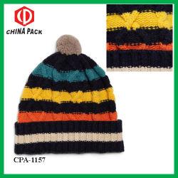 Il Knit robusto del blu marino a strisce delle lane Bobble i cappelli (CPA-1157)