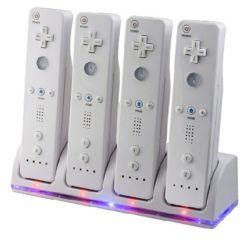 4 зарядное устройство зарядное док-станции+4 батарей для Nintendo Wii пульт ДУ