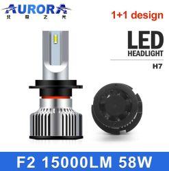 Aurora Wholesales Auto 1+1 Diseño Super brillante luz de cruce de alto Mini H4 H7 H11 9005 9006 H13 Auto LED Bombilla del faro