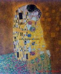 Klimt Handmade le pitture a olio della tela di canapa di bacio per la decorazione della parete