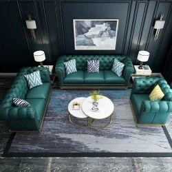 販売促進の私用カスタム贅沢な現代居間木製フレームの本物の担保付きの革多彩なソファー
