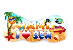 American Country Miami Beach regalo decoración adhesivos de resina de imán de nevera en 3D.
