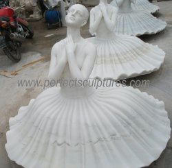 芸術は彫る実物大の白い大理石の石造りのバレエダンサーの彫像(SY-X1852)を