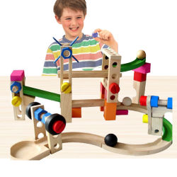 Деревянные американских горках Контакт Автомобильная обучения головоломки блоков образовательных игрушек (GY-W0053)