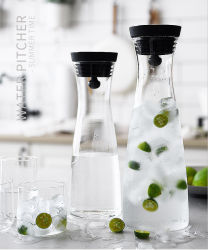 brocca bevente dell'alta di Borosilicate 1.2/1.8L acqua di vetro con il coperchio del silicone