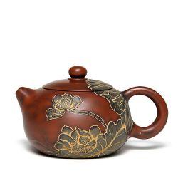 I mini insiemi di ceramica decorativi del POT del tè dell'argilla, Handcraft il fiore di loto imprimono la scultura dei POT del tè con il setaccio
