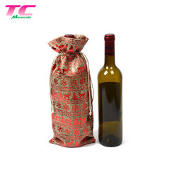 Cordão de sacos de juta de promoção do vinho de Natal Maleta de champanhe para parte de Férias