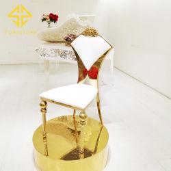 Moderno hotel de luxo, mobiliário de banquetes com estrutura metálica em aço inoxidável Golden casamento festa Cadeira de eventos para jantar restaurante
