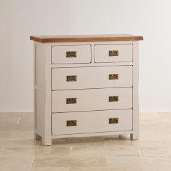 Cassa verniciata bianca rustica del cassetto di legno solido 2+3 della quercia