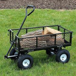 Heavy Duty 300kg capacité Chariot de jardin en métal vert Panier camion remorque 4 roues Chariot de jardin en métal de transport brouette tc1840