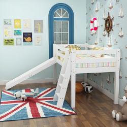 شابّ مزدوجة خشبيّة علّيّة سرير مع منزلق, تصميم متعدّد وظائف, بيضاء مع منزلق بيضاء
