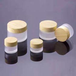 Pot à crème pour le visage en grain de bois 5ml 10ml 15ml 30ml 50ml Emballage cosmétique vide bol en verre dépoli avec transfert d'eau en bois Couvercle et cuillère