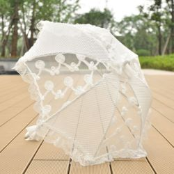 Van het Katoenen van de Paraplu van het kant Decoratie van het Huwelijk van de Paraplu van de Parasol van het Kant Ivoor van het Borduurwerk de Witte