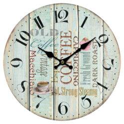 Простые цветные изображения арабскими цифрами Настенные часы MDF Безрамные часы