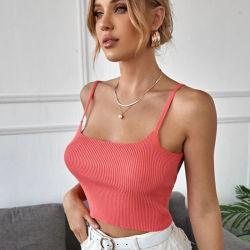 Fyb China Wholesale maglia senza dorso in maglia Crop da donna Sweater Vest sexy