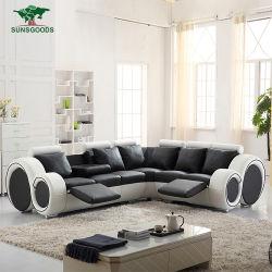 Corte transversal de couro branco e preto sofá com Pedal