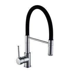 Одной ручки черный силикон светодиодный индикатор потяните вниз опрыскиватель латунные кухне раковину струей воды