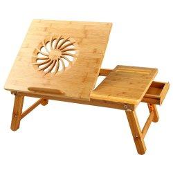 Laptop Turismo Nnewvante ajustável de mesa 100% Servindo almoço dobrável de bambu Bandeja de cama W' Inclinando Gaveta superior