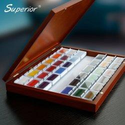 Dessin de haute qualité supérieure de l'artiste solide peinture aquarelle définie dans des boîtes en bois