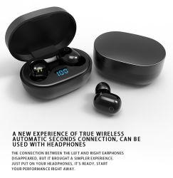 Tws F2 Bluetooth fones de ouvido sem fio do fone de ouvido com caixa de carga Bom Preço de som visor digital Design agradável