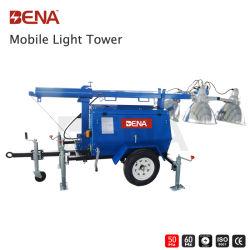 4*1000W Светодиодный прожектор на крыше башни Руководство по ремонту генератора 7~9m мачты в аварийных ситуациях используйте прицепа