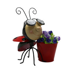 Home&Ornement de jardin en Métal Décoration Ladybug lumière solaire/plante Vase de fleurs