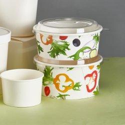 Tigela de sopa de macarrão Takeaway descartáveis de papel taça de sopa com tampa de plástico