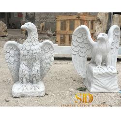 hecho personalizado de mármol blanco talladas a mano estatua Eagle/Suclpture para jardín nuevo
