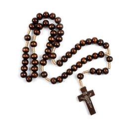 De hete Halsband Jesus Cross Rosary Necklace, de Houten Rozentuin van de Rozentuin van de Verkoop Hand-Woven Houten van Parels