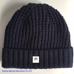 Mode d'adultes d'hiver de la laine de coton tricotés avec Linning Beanie acrylique