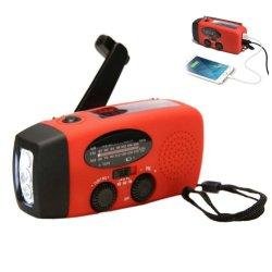 راديو يدوي متعدد الوظائف راديو يعمل بالطاقة يعمل بالطاقة الشمسية من دينامو يعمل بالموجة AM/FM/NOAA راديو أحوال الطقس استخدم مصباح LED لضوء الطوارئ ومصباح الطاقة