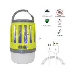 1800mAh 재충전 전지 휴대용 3in1 버그 Zapper 야영 손전등 Px6는 OS 비상사태를 위한 LED 모기 살인자 램프를 방수 처리한다