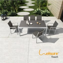 アルミニウムプラスチック木製表の家具を食事する一定の屋外の庭のテラス