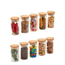 Hohe Borosilicat-Tee-Nahrungsmittelglasflasche mit Bambuskappe gedichtetem Glas für Küche-Speicher