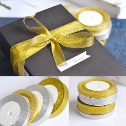 O Ouro Verde Embalagem do rolo da correia de prata cintilante fita metálica/náilon pura Fita Organza/ Grosgarin Duplo acetinado/Face Única Fita de fantasia