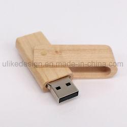 Regalo de la moda unidad Flash USB giratorio con material de madera