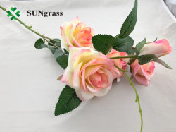 Commerce de gros d'usine vraie touche Fleur artificielle de la soie artificielle Fleur Rose Rouge Blanc mensuel Orange pour la Maison décoration de fête de mariage