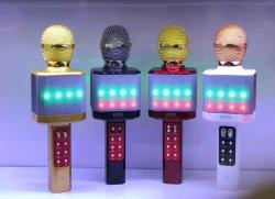 مصباح LED جديد ميكروفون لاسلكي Bluetooth K Sing Song Karaoke سماعة USB KTV بلاير محمولة تسجيل الموسيقى ميكروفون Xds-Ws1828