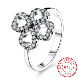 925 Sterling Silver Clover Shape with Zircon Hot Design Ring