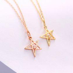Groothandel nieuwe Solid Gold Jewelry 14kt Gold Star 5A Zircon Hanger