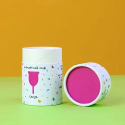 Amichevole di Firstsail Eco stampato intorno al contenitore impaccante del tubo del silicone di cilindro mestruale di carta della tazza