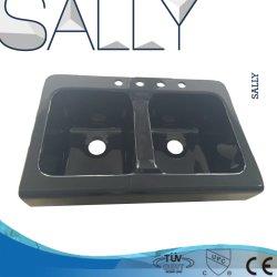 Sally Black Laundry acrylique 33,8X22.8X10.4 pouces lavabo à évier Meuble de lavage Double bol pour salle de douche salle de bains ou cuisine
