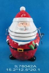 De ceramische Verzegelde Koekjestrommel van Kerstmis Kerstman met Rubber