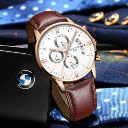 Luxury men Fashion Casual Gift Watches Klokman voor heren Lederriem Leger militaire Sport Polshorloge