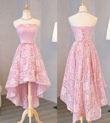 Parti en dentelle rose robe de prom formelle sans manches robe de cocktail courte C1715