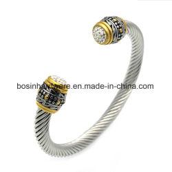 Edelstahl-Torsion-Seil-Armband mit Weinlese-Kristall-Enden