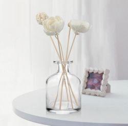 bottiglia di vetro dell'aroma della radura di figura rotonda di alta qualità 50ml della canna del diffusore del profumo vuoto della bottiglia con il commercio all'ingrosso del tappo